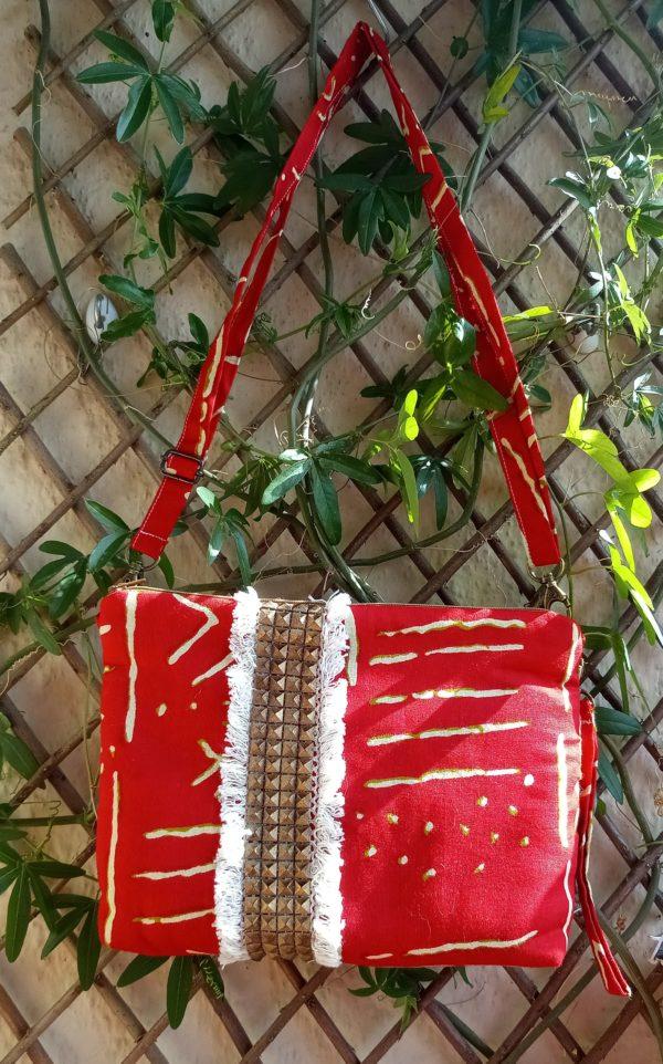 bolso rojo tela africana